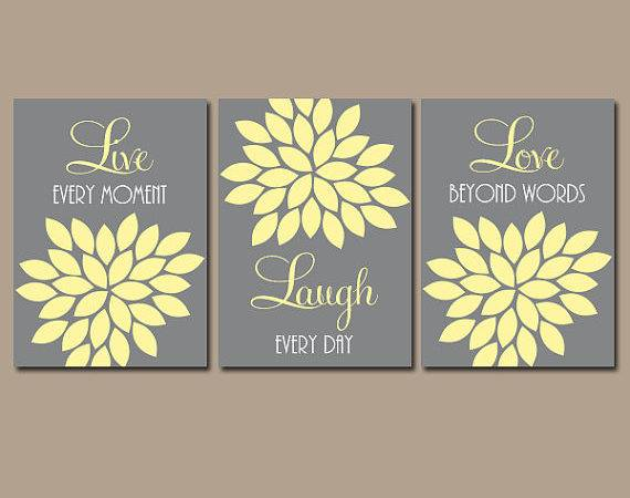Live Laugh Love Wall Art Yellow Gray Nursery Canvas