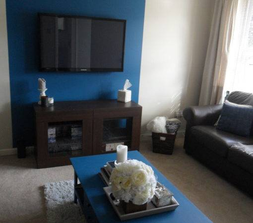 Living Room Blue Feature Wall Show Home