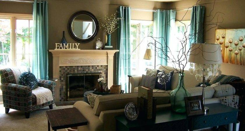 Living Room Country Themed Teal Brown Decorating