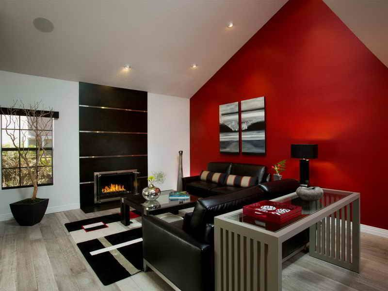 Living Room Dark Red Accent Wall Little Big Adventure