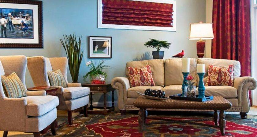 Living Room Decor Red Beige Theme Using