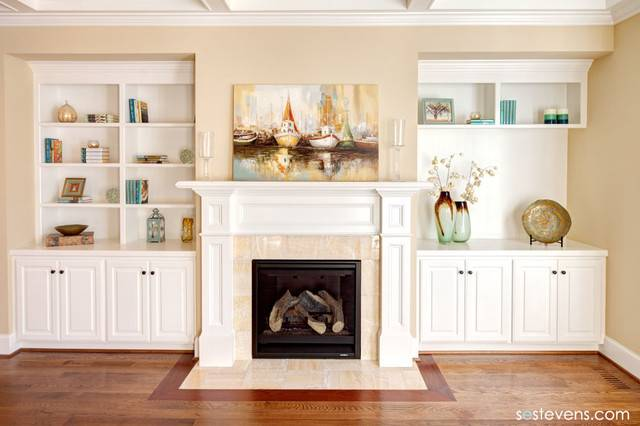 Living Room Fireplace Built Shelving Traditional