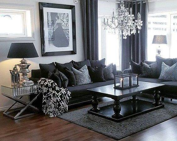 Living Room Furniture Dark Grey Sofas Curtain