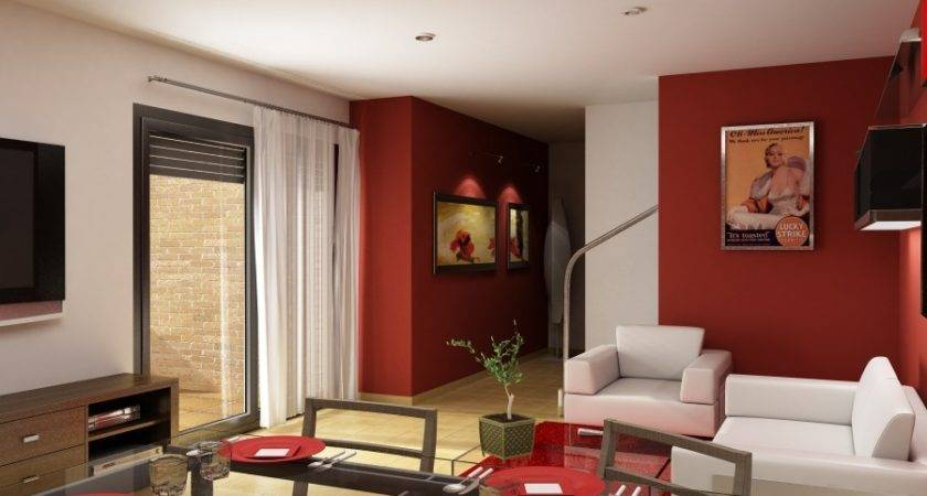 Living Room Red Accent Wall Walls Roomred