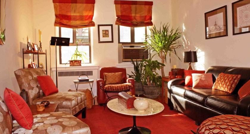 Living Room Red Creem Colour Curtains Brown