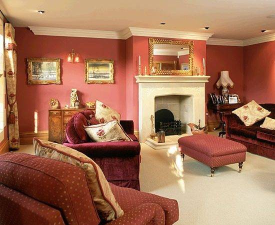 Living Room Red Walls Sofas Housetohome