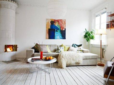 Living Room Wooden Floor White Color Paint Wall