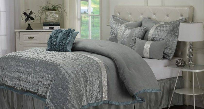 Luxe Collection Dannica Piece Silver Teal Comforter