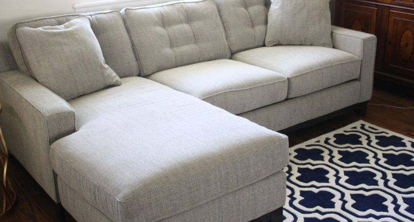 Luxuriant Soft Sectional Shaped Gray Couch Tufted