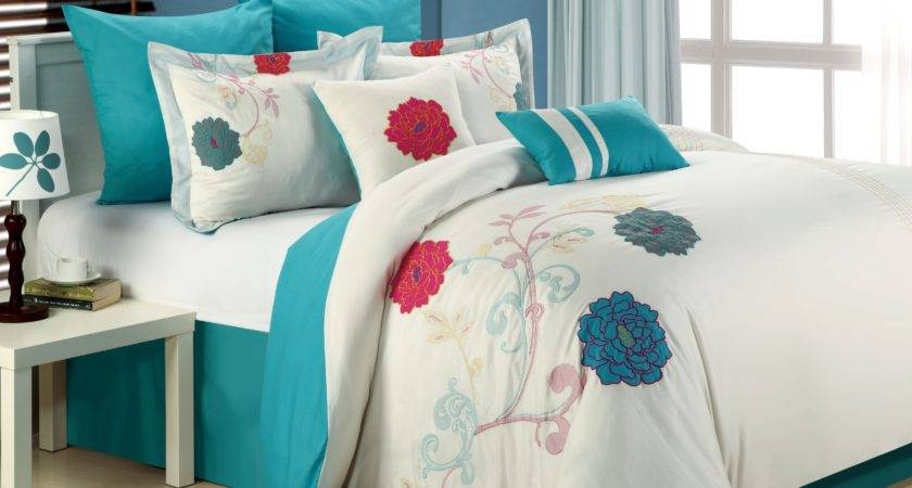 Luxury Bedding Set Lucile White Teal Pink