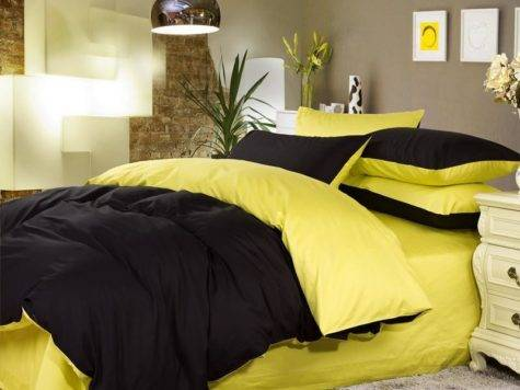 Luxury Black Lemon Yellow Solid Pure Color Simply