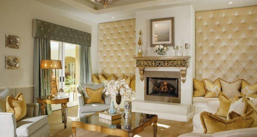 Luxury Living Room Gold Accents Upholstered Tufted