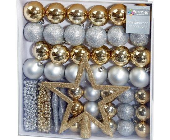 Luxury Set Gold Silver Christmas Tree Decorations
