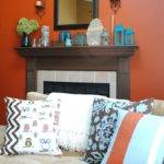 Mantle Decor Colors Orange Turquoise Brown Cream