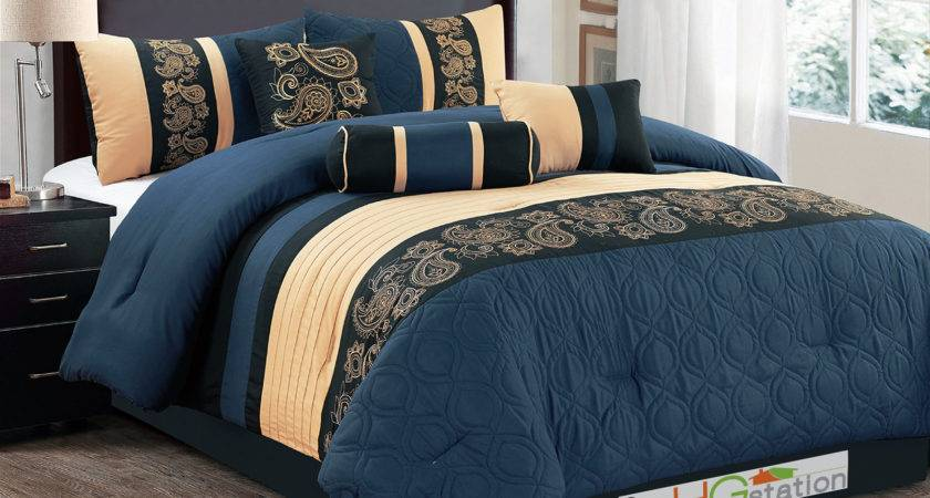 Marquise Floral Paisley Scroll Embroidery Comforter