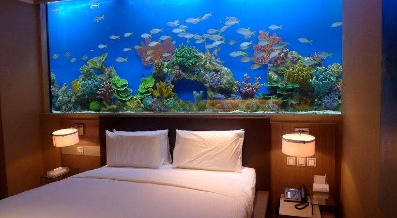 Marvelous Fish Tank Bedroom Wall Design Small Table