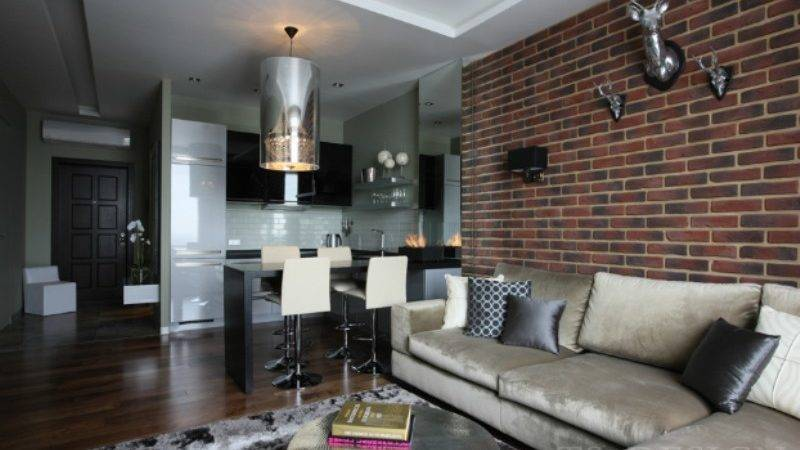 Masculine Apartment Design Small Space Using Industrial