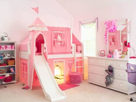 Maxtrix Kids Princess Castle Loft Bed Slide