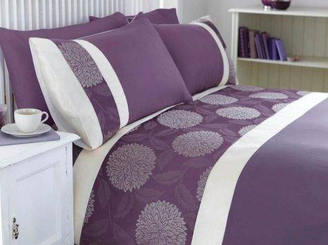 Mei Dark Purple Cream Jacquard Detail Floral Luxury