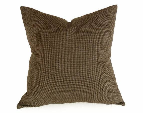 Menswear Style Pillow Wool Houndstooth Brown