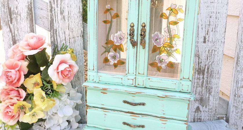 Mint Green Shabby Chic Jewelry Box Armoire