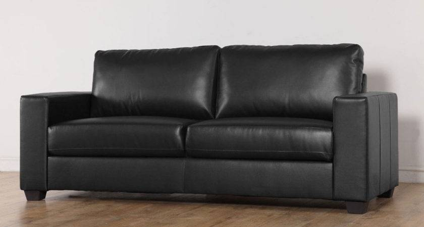 Mission Black Leather Sofa Suite Seater Only