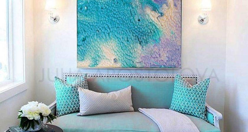 Modern Abstract Painting Turquoise Blue Green Orange Brown