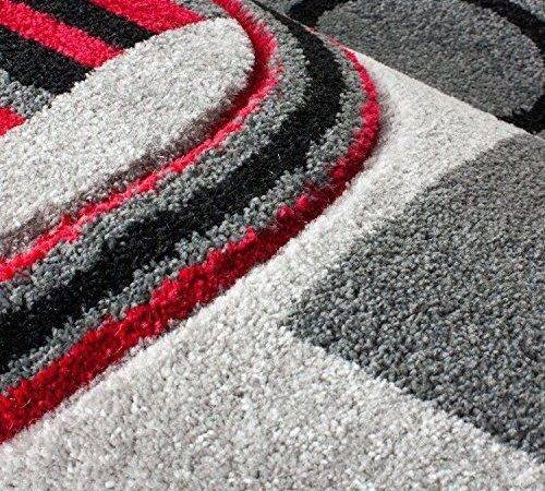 Modern Area Rug Red Grey Beige Black Circles Carpet