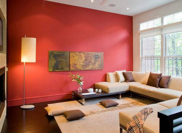 Modern Asian Living Room Beige Sectional Red Wall