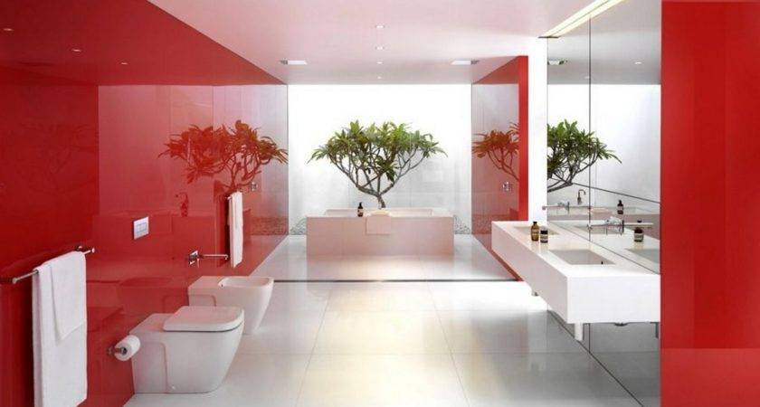 Modern Bathroom Interior Design Red White