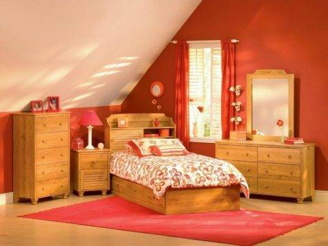 Modern Bedroom Furniture Teens Orange Wall Color