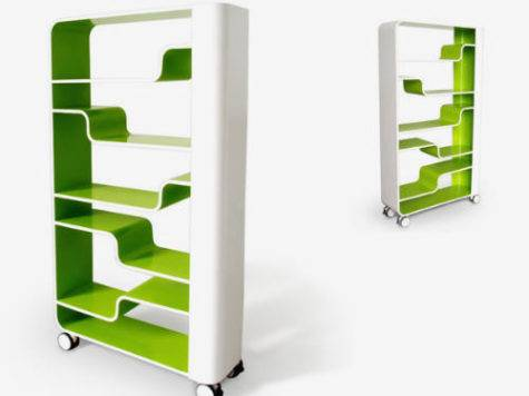Modern Bookshelf Green White Color Wavy Shelfs