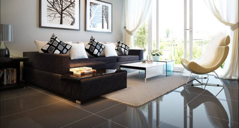 Modern Living Room Dark Couch Warm Cozy Rooms