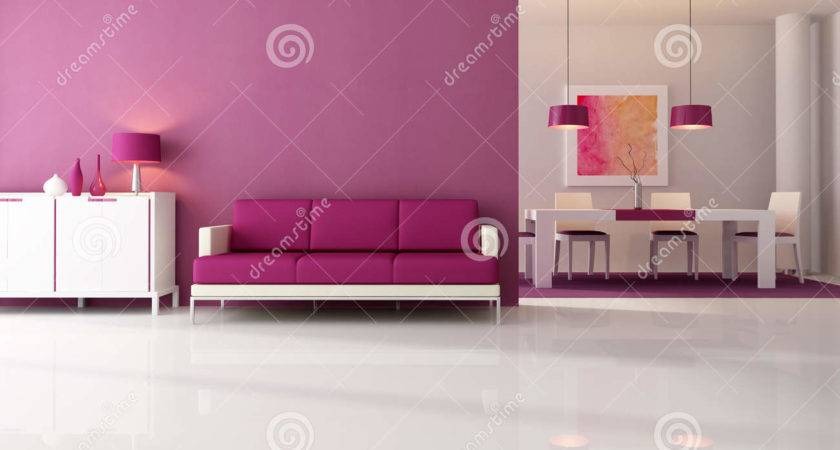 Modern Purple Living Room Illustration