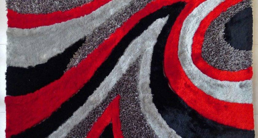 Modern Shag Area Rug Grey Red