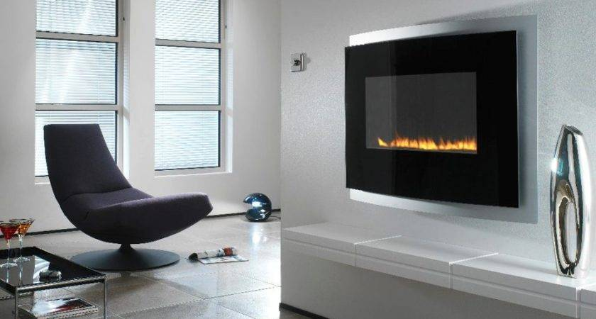 Modern Wall Mounted Fireplace Interior Design Ideas