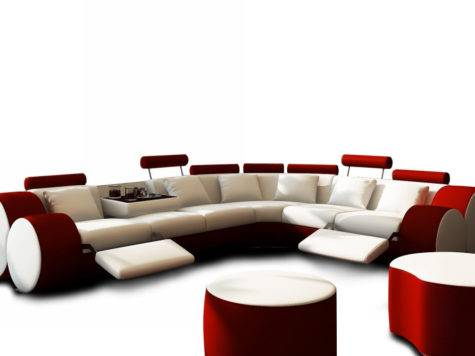 Modern White Red Leather Sectional Sofa