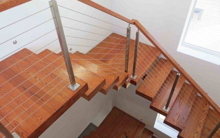 Modern Wood Stairs Stainless Steel Cable Railing