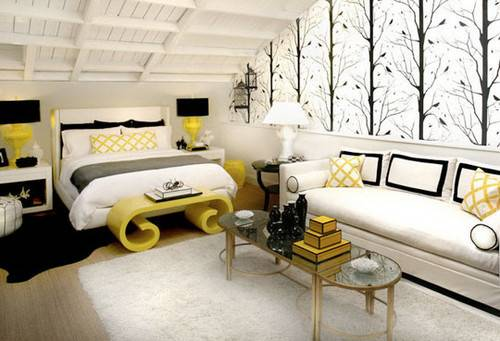 Modern Yellow Black White Bedroom Decor Panda House