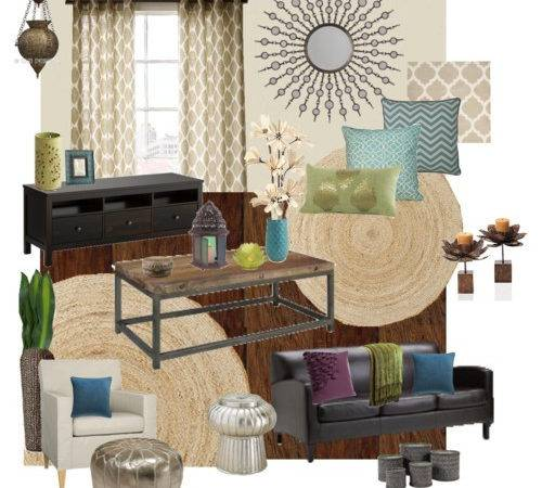 Moroccan Inspired Living Room Design Board