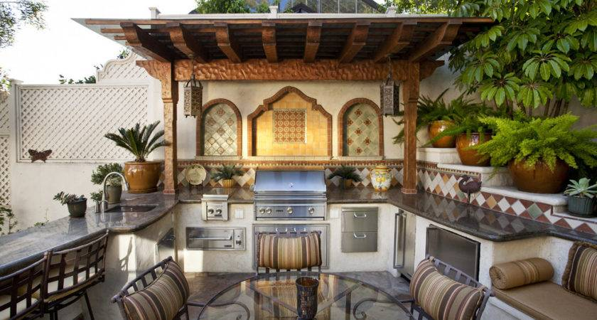 Moroccan Style Summer Kitchen Marble Counters