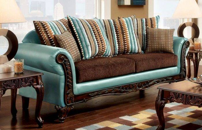 Mulligan Teal Leatherette Dark Brown Fabric Sofa Accent