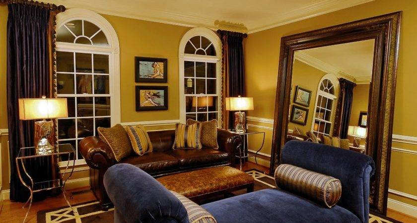 Mustard Walls Living Room Eclectic Wood Cabinets