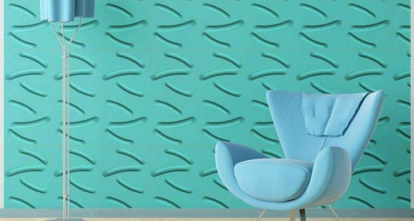 Narrow Curve Line Pattern Wall Board Feature Turquoise