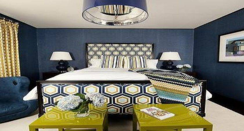 Navy Blue Gold Bedroom