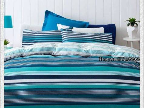 Navy Blue Turquoise White Stripe King Queen Double Single