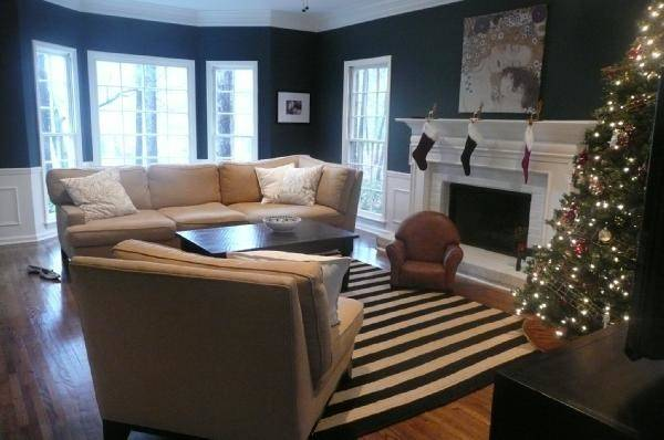 Navy White Striped Rug Traditional Living Room