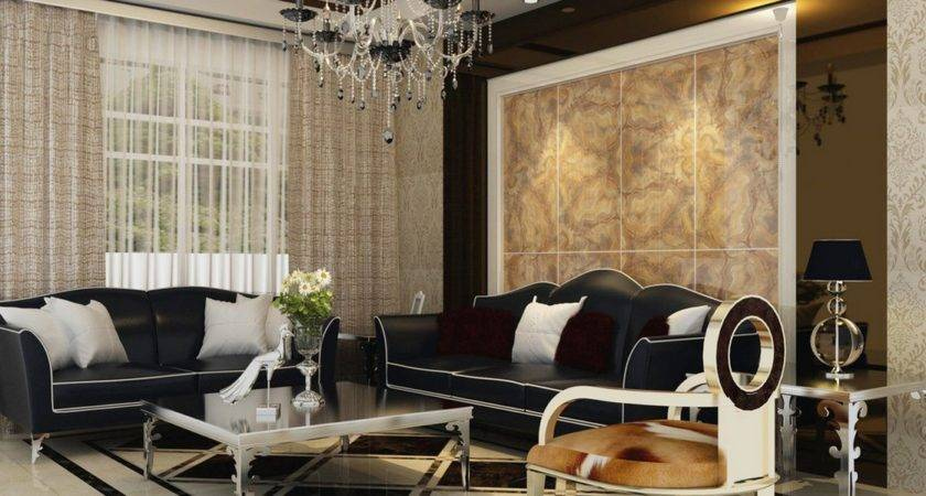 Neoclassical Living Room Black Couch