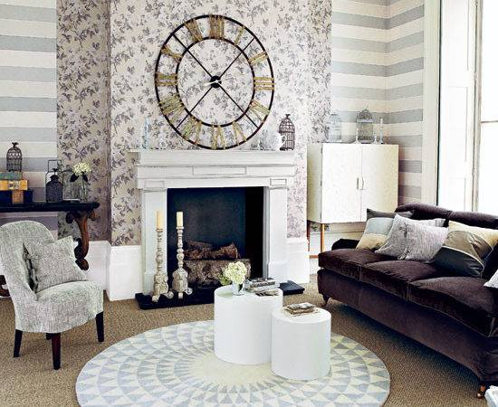 Neutral Patterned Living Room Ideal Home