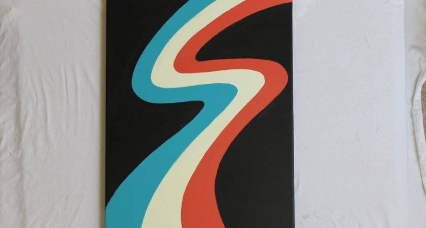 New Abstract Minimalist Painting Teal Blue Orange Red